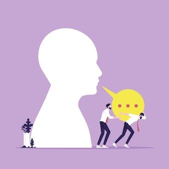 Groupe d'hommes d'affaires portant la bulle de dialogue les hommes d'affaires résistent à la pression sur la bulle de dialogue