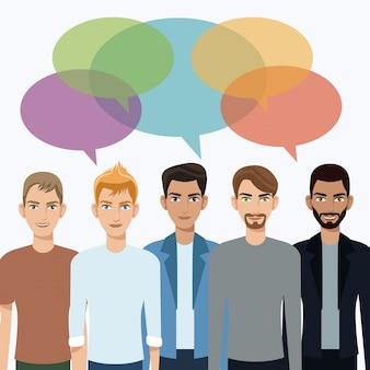 Groupe hommes communication dialogue bulle discours