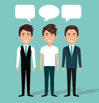 Groupe hommes conversation conversation dialogue isolé