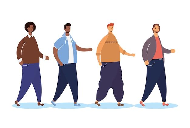 Groupe d'hommes interracial marchant des personnages