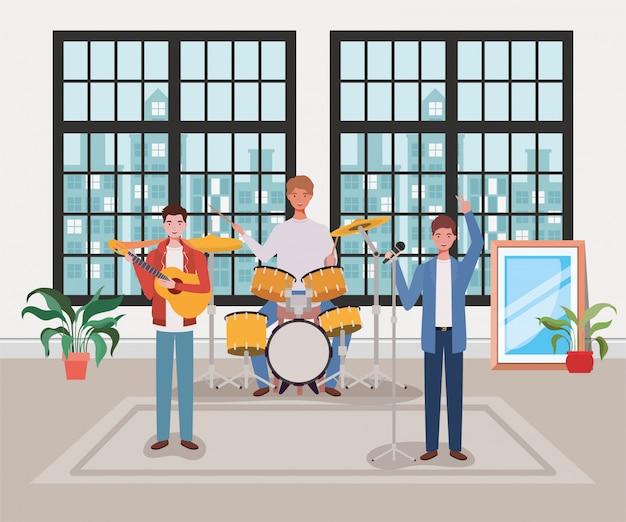 Groupe d'hommes jouant des instruments dans la salle