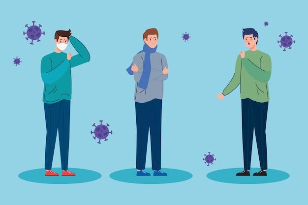 Groupe hommes malades du coronavirus 2019 ncov