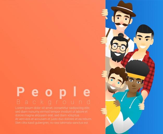 Groupe d'hommes multi ethniques heureux, debout derrière un plateau coloré vide