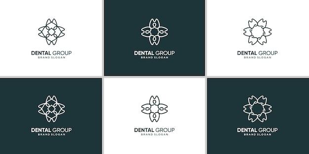 Groupe d'icône de logo dentaire avec concept abstrait créatif vecteur premium