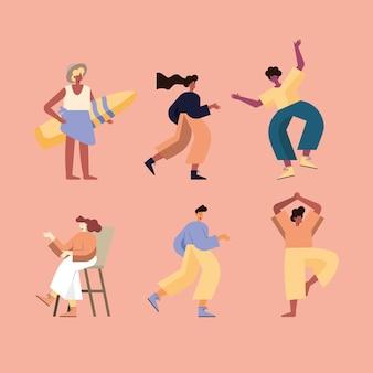 Groupe d'icônes de dessins animés femmes et hommes