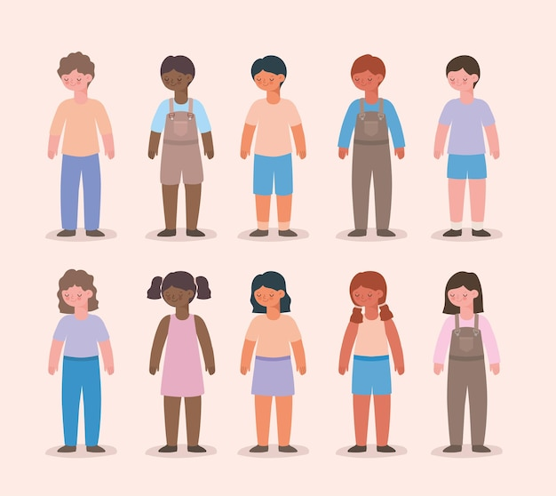 Groupe d'icônes enfants