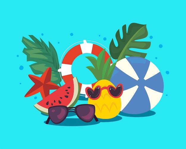 Groupe d'icônes d'été et de vacances