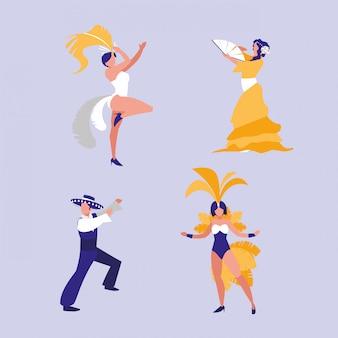 Groupe d'icônes isolé de danseurs