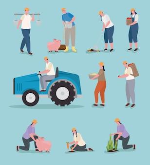 Groupe d'icônes de personnes d'agriculteurs