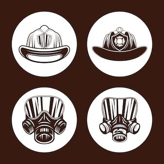 Groupe d'icônes de pompier