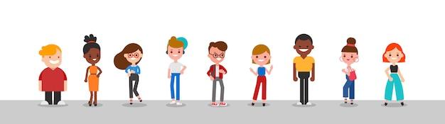 Groupe d'illustration de caractère de personnes diverses.