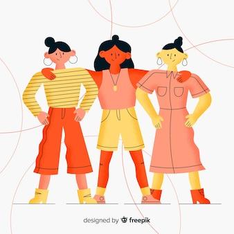 Groupe international de femmes avec un design plat