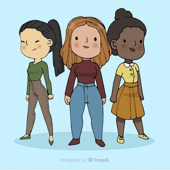 Groupe international de femmes dessiné à la main