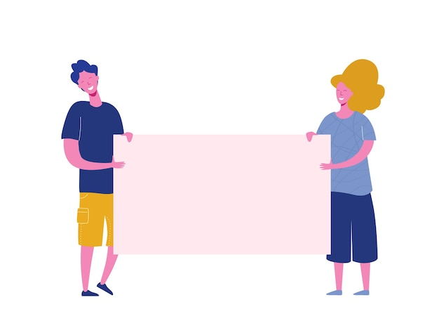 Groupe de jeune homme et femme debout ensemble et tenant une bannière vierge. les personnes participant à un défilé ou à une manifestation. des militants masculins et féminins. dessin animé plat coloré