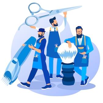 Groupe de jeunes barbiers barbus professionnels cool
