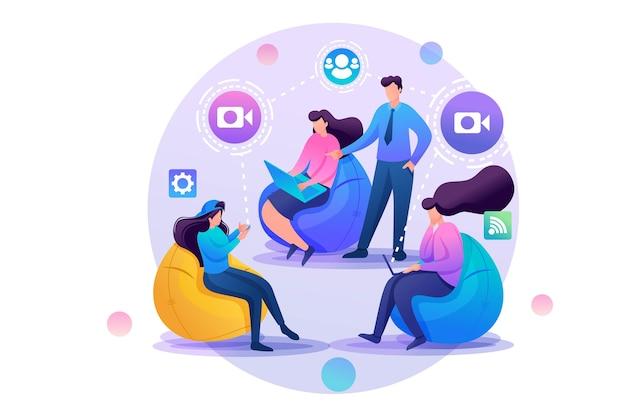 Groupe de jeunes communiquent au design plat