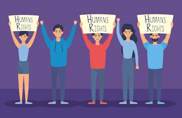 Groupe de jeunes avec conception des droits de l'homme label vector illustration