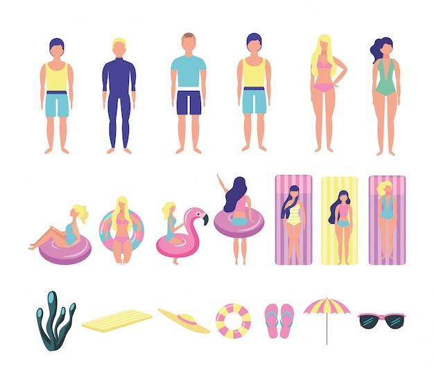 Groupe de jeunes avec des costumes de plage regroupent des personnages