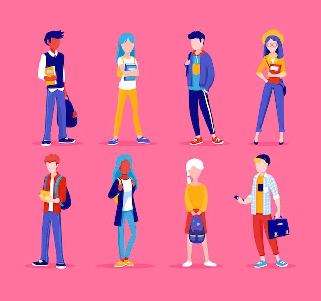 Groupe de jeunes, debout ensemble, dans des poses différentes. étudiants, illustration d'écoliers en style cartoon. ensemble d'adolescents.