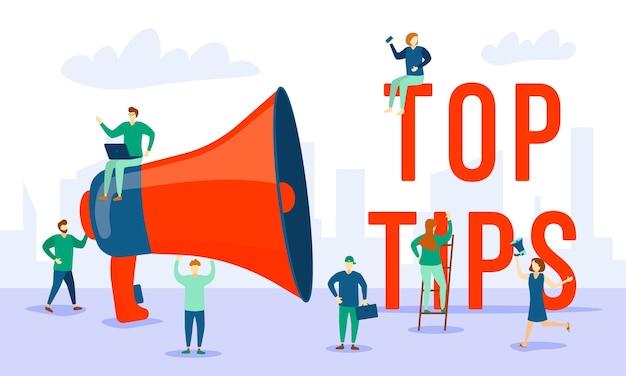 Groupe de jeunes différents près d'un mégaphone - meilleurs conseils. une foule de personnes près de l'inscription top tips. différents personnages de dessins animés.