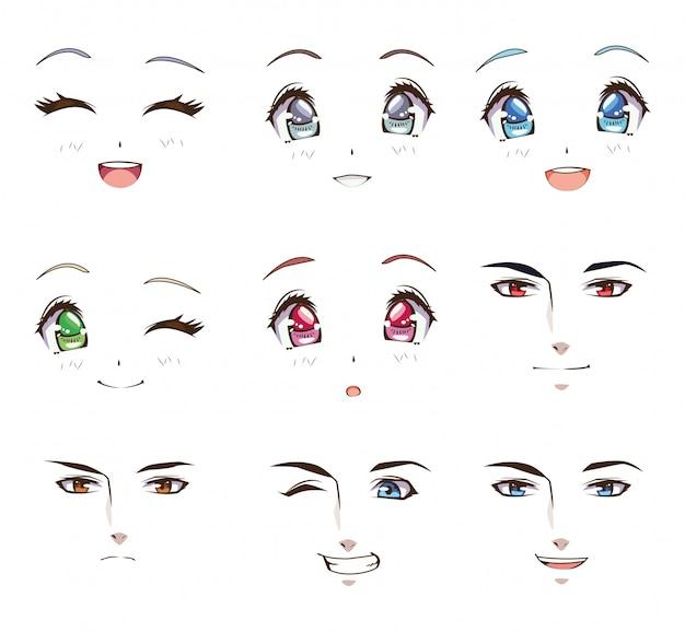 Groupe de jeunes face à des personnages de style anime