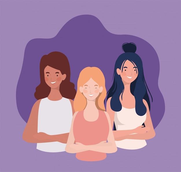 Groupe de jeunes femmes personnages debout