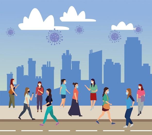 Groupe de jeunes femmes portant des masques médicaux sur les personnages de la ville