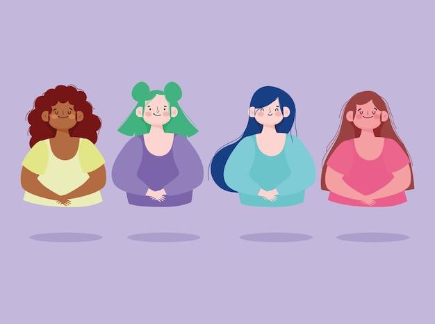 Groupe de jeunes femmes portrait illustration vectorielle de dessin animé féminin