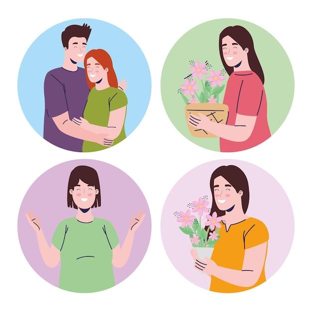 Groupe de jeunes filles avec des fleurs de printemps et illustration de personnages de couple