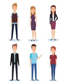 Groupe de jeunes gens pose et styles