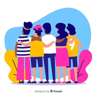 Groupe de jeunes gens s'embrassant
