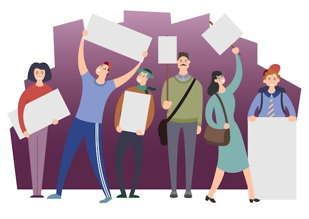 Un groupe de jeunes hommes et femmes se tient debout et tient des banderoles vierges. des manifestants ou des militants participent à un défilé ou à un rassemblement ou font grève et revendiquent. illustration vectorielle coloré de dessin animé plat.