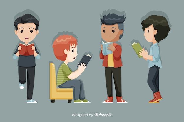 Groupe de jeunes lisant