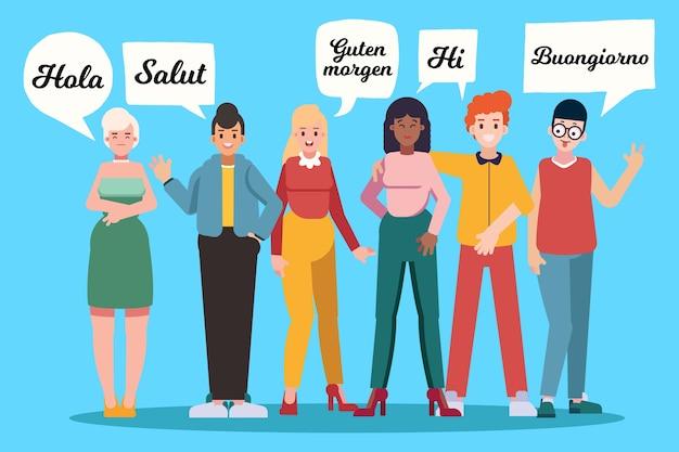 Groupe de jeunes parlant dans différentes langues