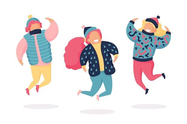 Groupe de jeunes sautant