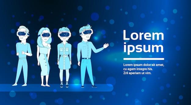 Groupe, de, jeunes, silhouette, porter, 3d, lunettes réalité virtuelle, moderne, technologie, technologie