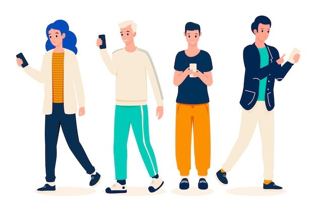 Groupe de jeunes utilisant des smartphones