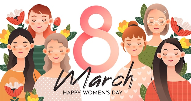 Un groupe de jolies filles avec le numéro 8. carte de voeux pour la journée internationale de la femme (8 mars).
