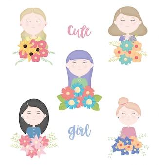 Groupe de jolies filles avec des personnages de bouquet floral
