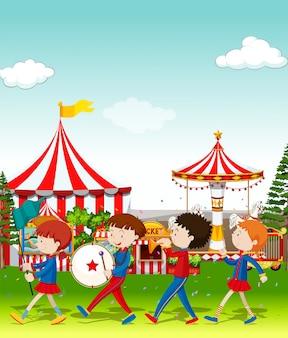 Groupe jouant au cirque