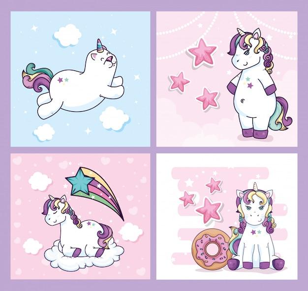 Groupe de licornes mignons fantaisie avec décoration
