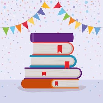 Groupe de livres et fanion
