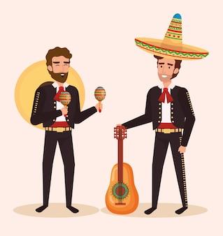 Groupe de mariachis mexicains avec des instruments