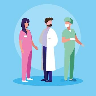 Groupe de médecins et chirurgien personnage avatar