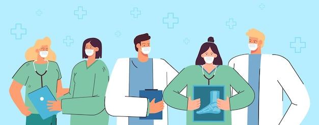 Groupe de médecins de dessins animés en masques