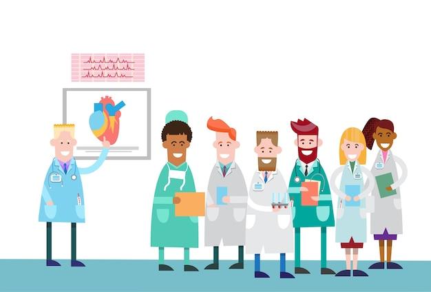 Groupe de médecins groupe de stagiaires humain corps humain coeur