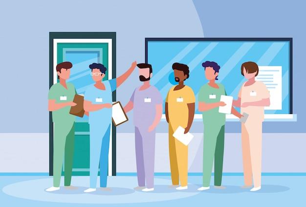 Groupe de médecins en personnage d'avatar à l'hôpital