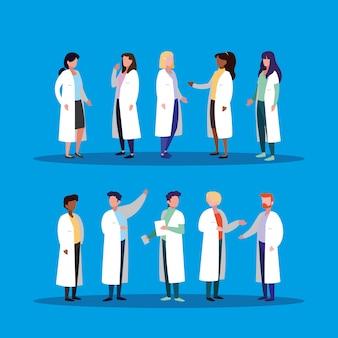 Groupe de médecins personnage avatar