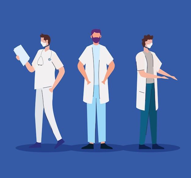 Groupe de médecins portant illustration de caractères de masques médicaux