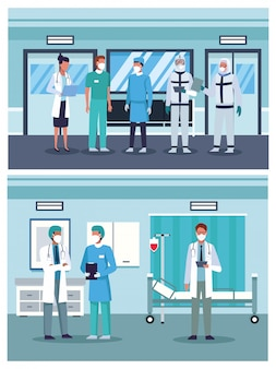 Groupe de médecins portant des masques médicaux à l'hôpital